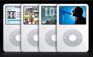Marketing picture of a row of iPod Classics