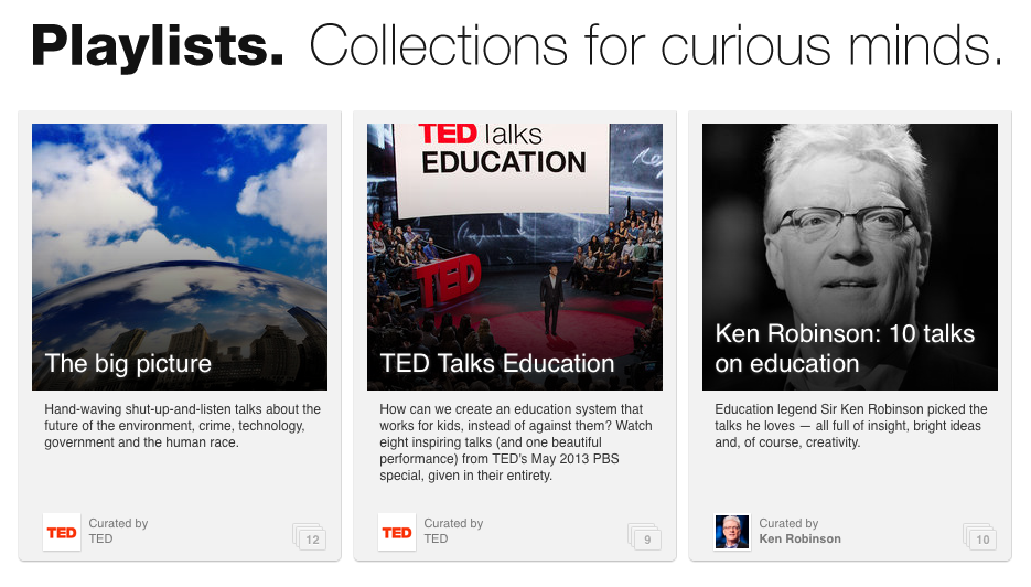 TED Playlists Screen Shot